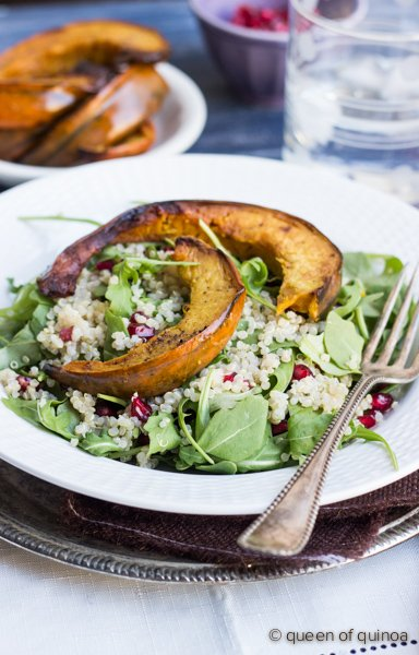 Arugula Salad with Quinoa, Pomegranate & Roasted Squash - a healthy Thanksgiving recipe