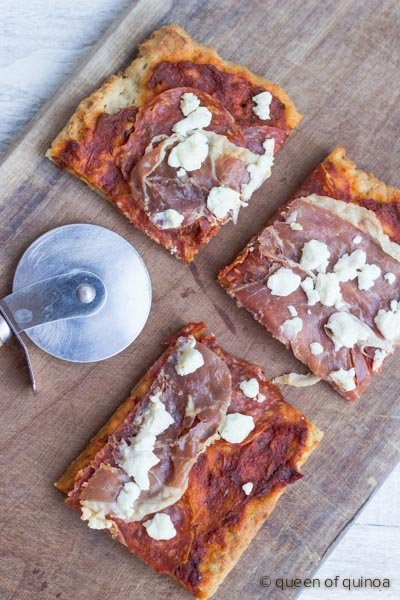 The Best Gluten-Free Pizza Crust on the planet - made with #quinoa flakes!