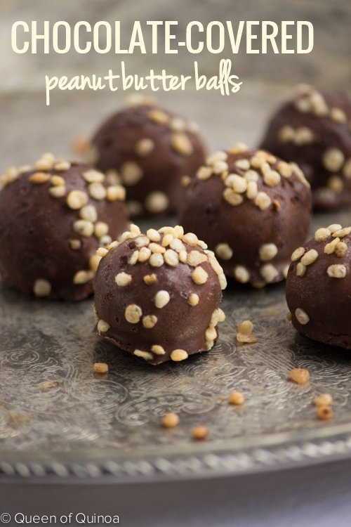 A healthy alternative to Reese's these chocolate-covered peanut butter bites are made with just a few ingredients and taste amazing!