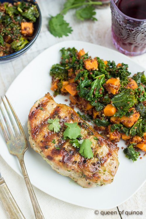 Grilled Pork Chops Marinade Recipe: Grilled Pork Chops With Red Quinoa Salad
