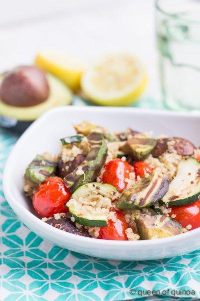 Grilled Vegetable Quinoa Salad with Avocado | recipe on simplyquinoa.com | #glutenfree #vegan