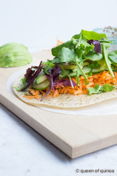 How to make the perfect veggie wrap - a clean, simple but delicious meal! Plus, it's #glutenfree & #vegan. Find recipe --> http://www.simplyquinoa.com