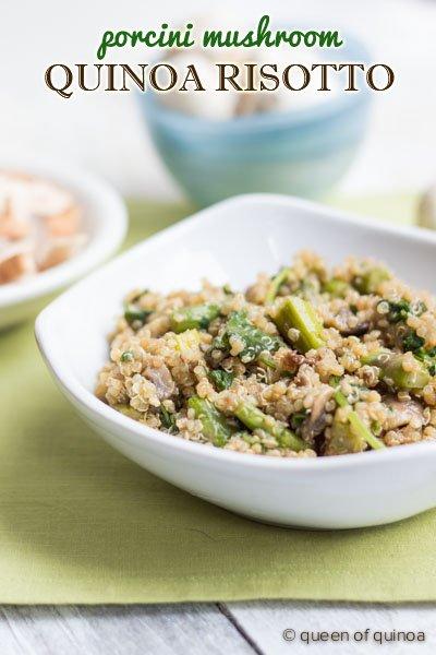 {Porcini Mushroom Quinoa Risotto} recipe on simplyquinoa.com  #glutenfree