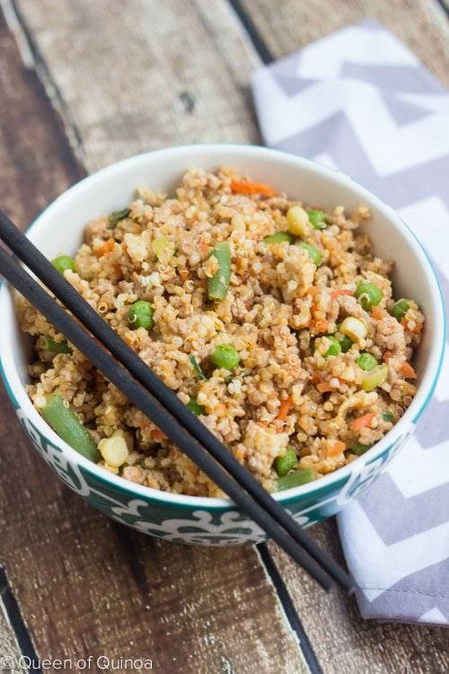 Quinoa Fried Rice made with ground pork and seasoned with coconut aminos