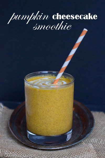 Pumpkin Cheesecakes Smoothie with a secret creamy ingredient! Recipe on http://www.simplyquinoa.com