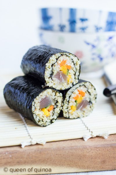 Quinoa Sushi with Tuna & Mango via @alyssarimmer | #glutenfree #quinoa