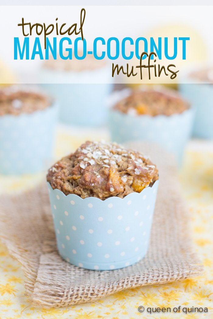 Tropical Mango-Coconut Quinoa Muffins - healthy, gluten-free breakfast treats studded with fresh tropical flavors