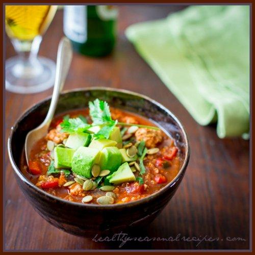 Turkey Picadillo Quinoa Chili - a hearty, warm-weather chili made ...