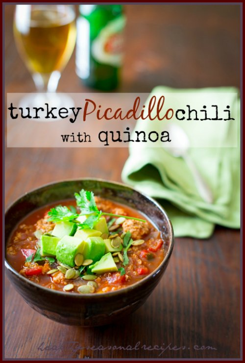 Turkey Picadillo Quinoa Chili - a hearty, warm-weather chili made ...
