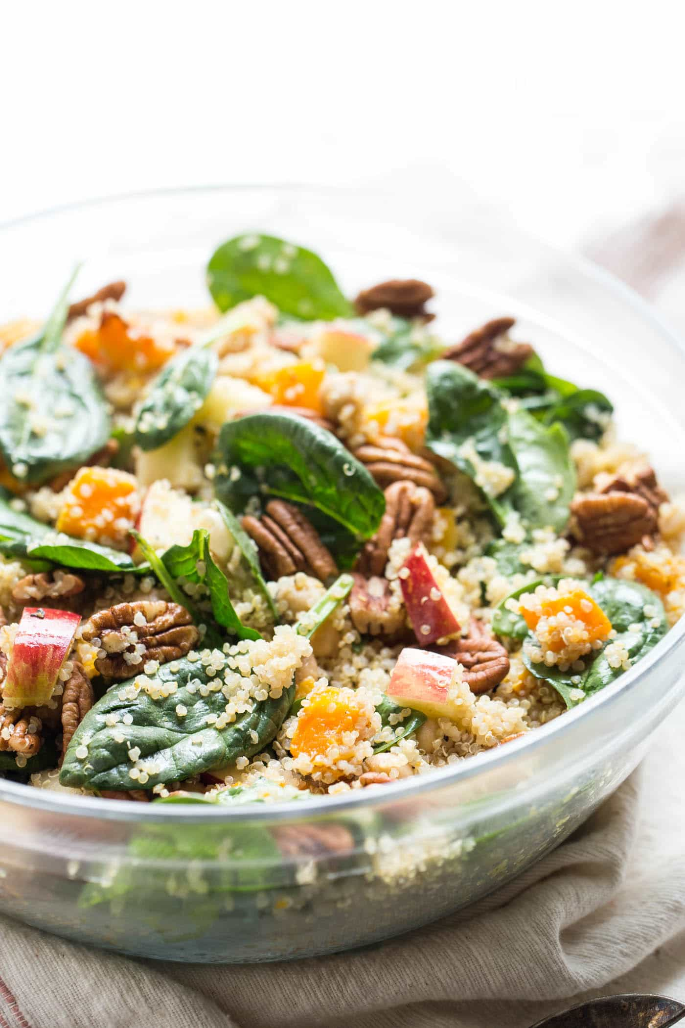Fall Quinoa Salad with roasted butternut squash, apples, pecans and spinach!
