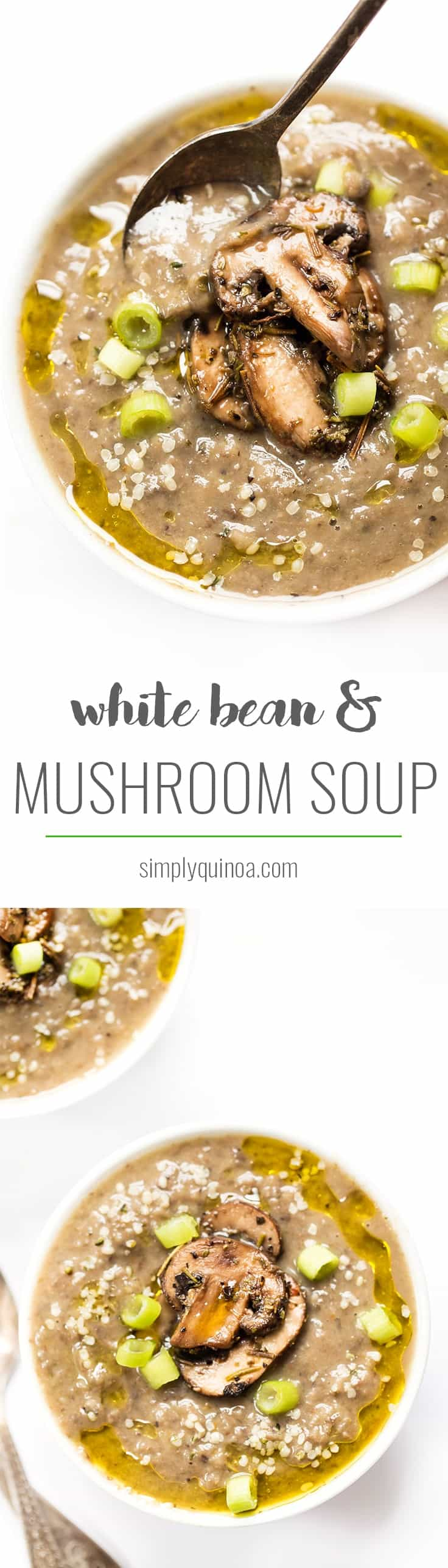 This CREAMY White Bean & Mushroom Soup is super easy to make, healthy and hearty! [vegan]