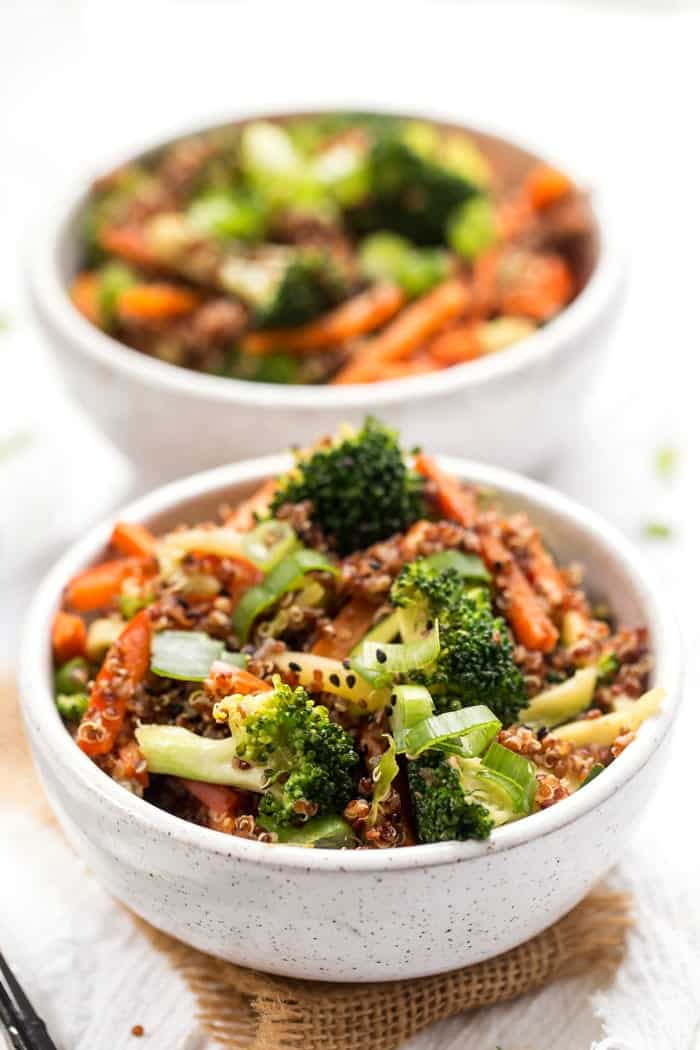 easy vegan quinoa bowls with ginger and veggies