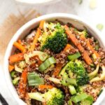 10-minute ginger quinoa bowls with veggies