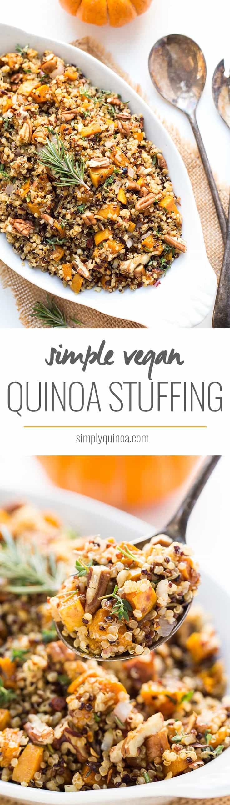 Have a healthy Thanksgiving this year by serving this super SIMPLE Quinoa Stuffing recipe instead of the traditional bread-based one!