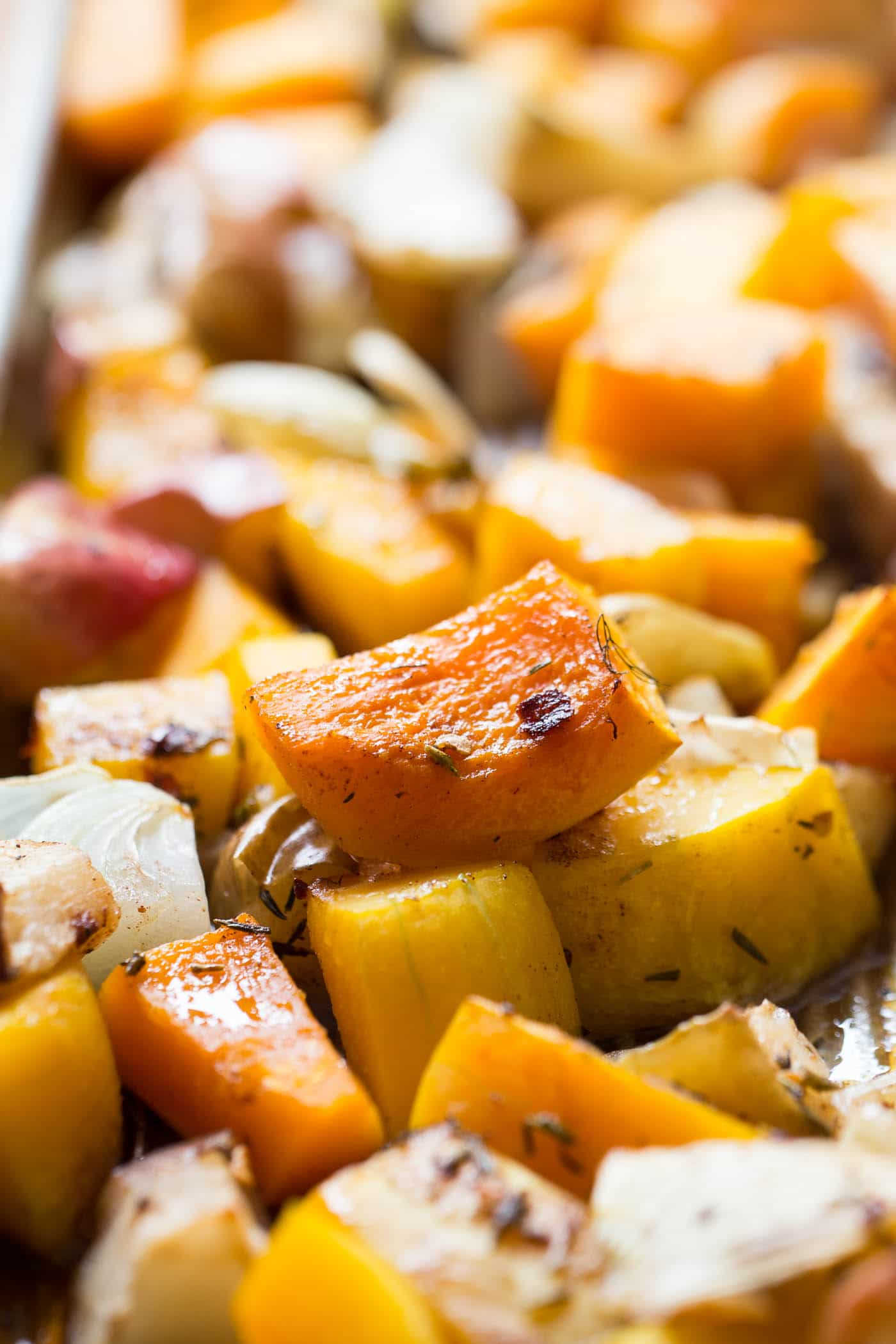 Roasted vegetables are the perfect base for this Butternut Squash & Apple Soup!