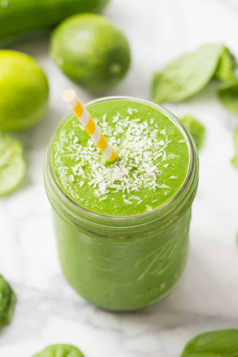 Pina Colada Green Smoothie with pineapple, spinach, lime and cucumber!