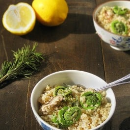 Lemon Rosemary Quinoa with Fiddleheads & Mushrooms