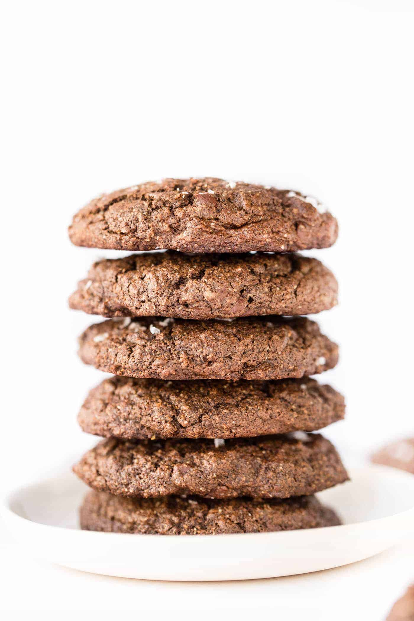 healthy double chocolate chip quinoa cookies with sea salt