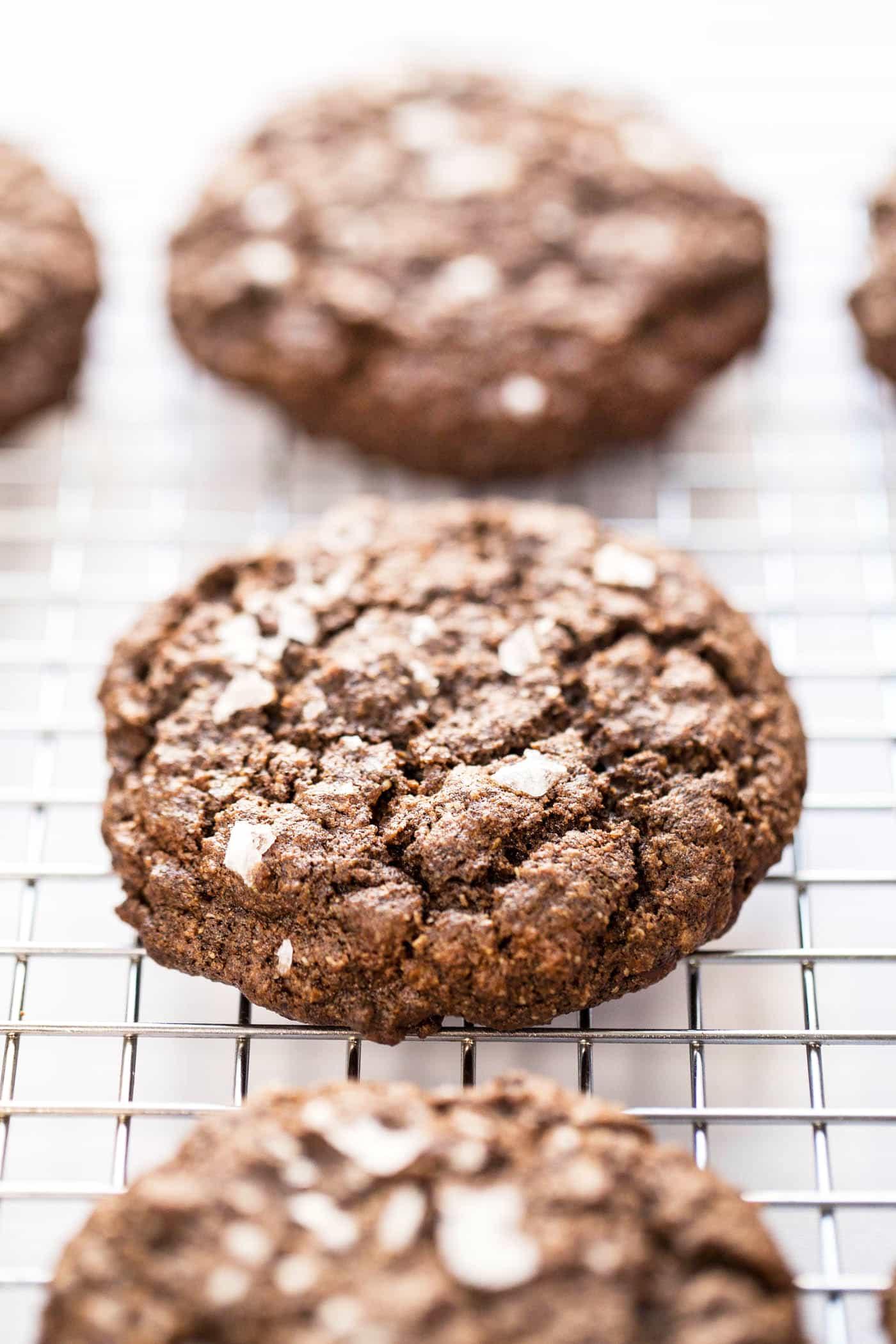 healthy double dark chocolate quinoa cookies made with buckwheat flour