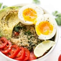 Mexican Quinoa Breakfast Bowls -- with tomato, avocado, soft boiled eggs and cilantro-lime quinoa!