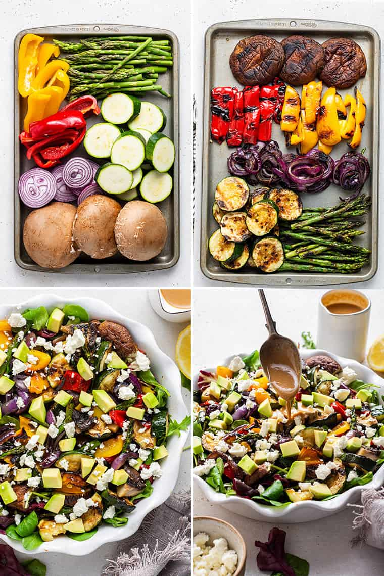collage of four steps to making grilled vegetable salad with mushrooms, peppers, onions and squash