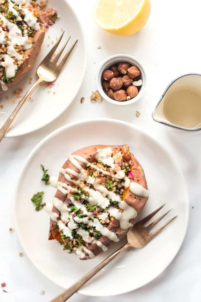 quinoa stuffed sweet potatoes with kale