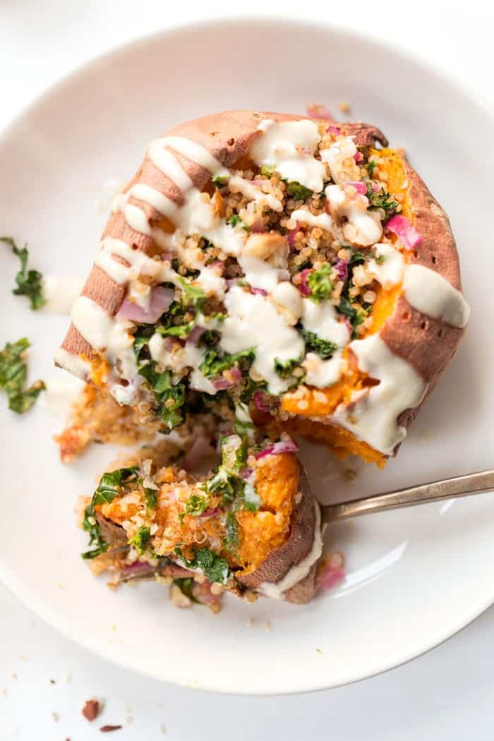stuffed sweet potatoes with quinoa and kale