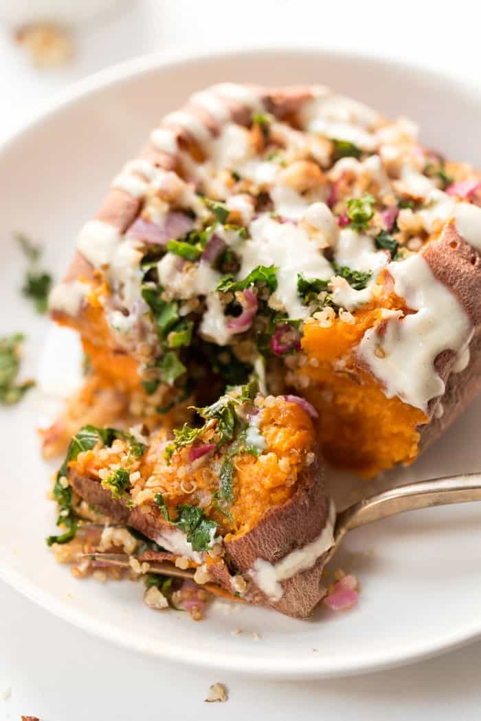 stuffed sweet potatoes with kale and quinoa