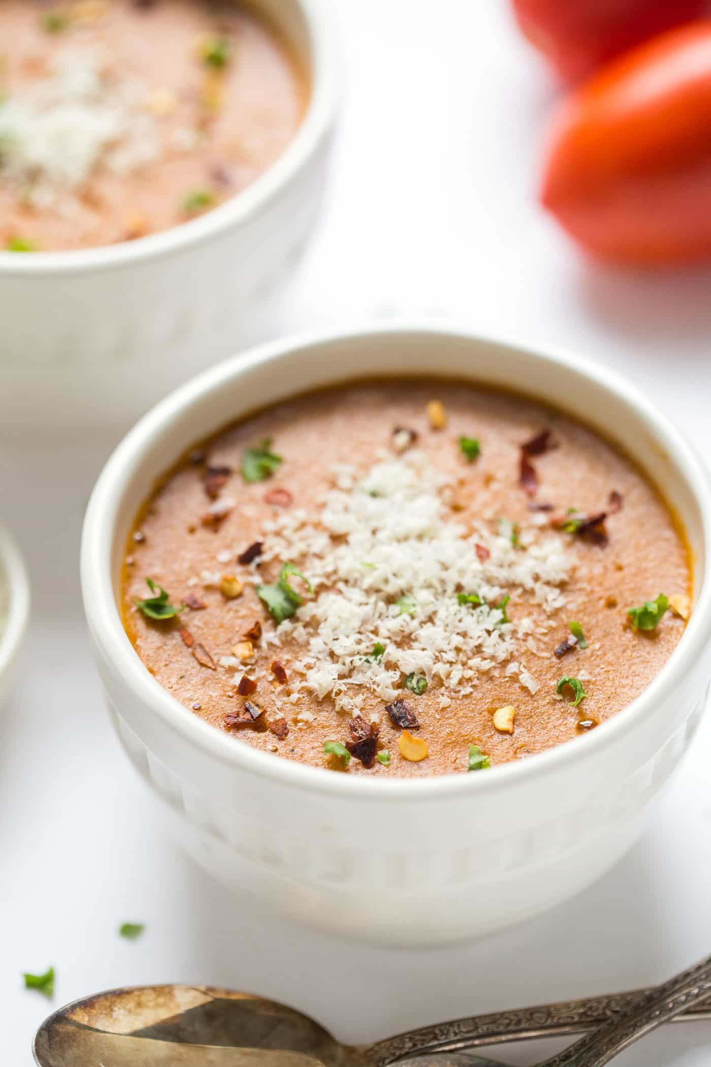 Healthy Tomato Bisque -- only 20 minutes to make, easy and VEGAN!