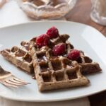 Chocolate Raspberry Waffles with Chocolate-Peanut Butter Drizzle