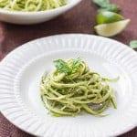 Zucchini Noodles with Lime-Arugula Pesto