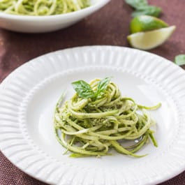 Zucchini Noodles with Lime-Arugula Pesto