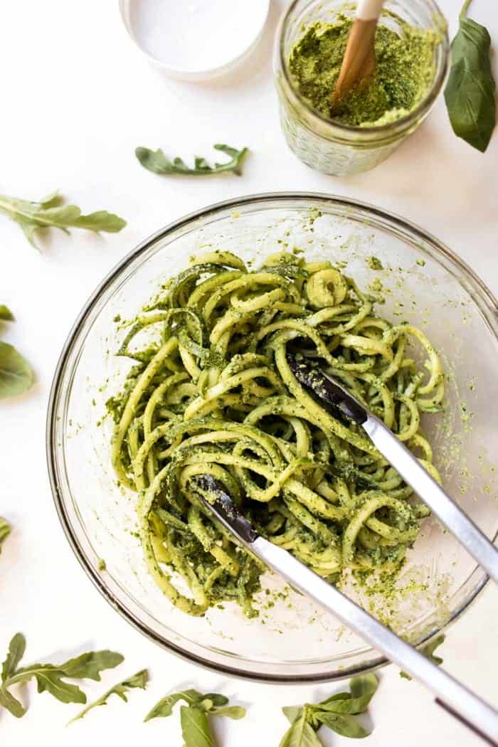 raw zucchini noodles with lime arugula pesto