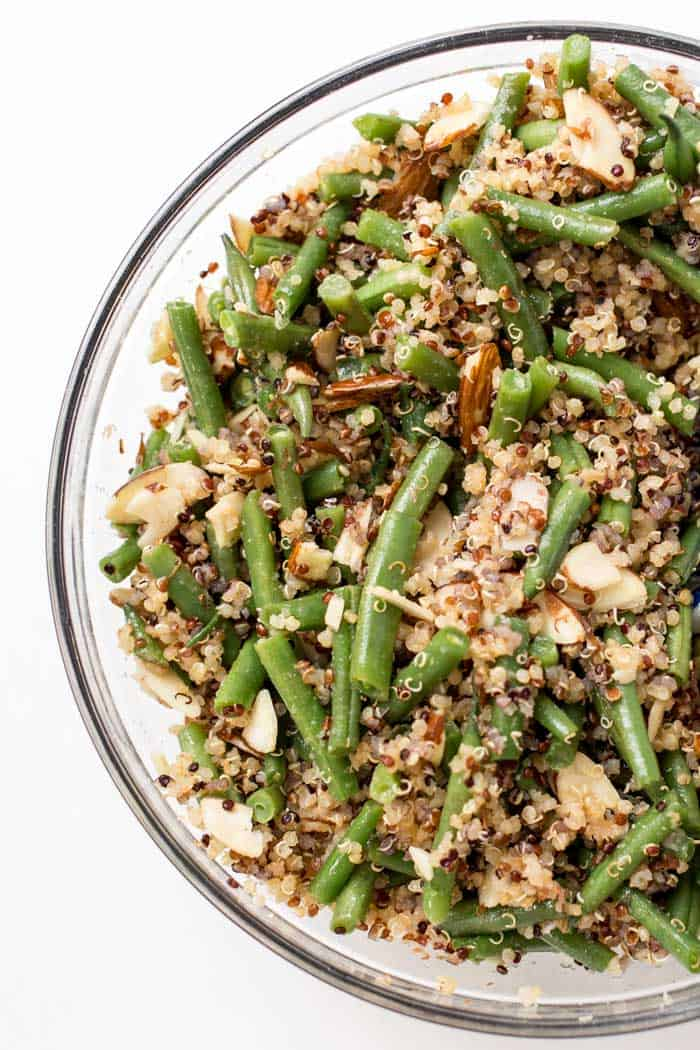 green bean and almond quinoa salad with only simple ingredients