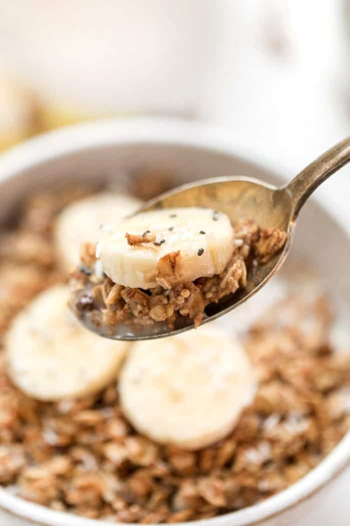healthy vegan granola recipe with peanut butter and banana