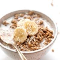 vegan quinoa granola with peanut butter and banana