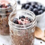 easy chocolate chia pudding with hemp seeds and blueberries
