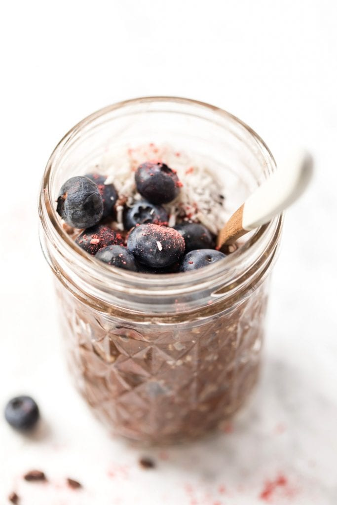 vegan chocolate chia pudding with hemp seeds for extra protein