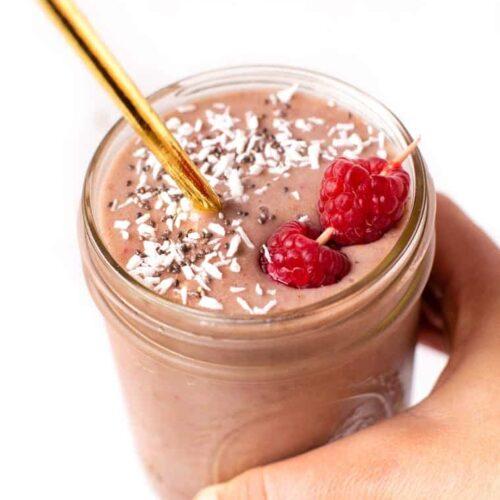 Raspberry Smoothie in a Jar