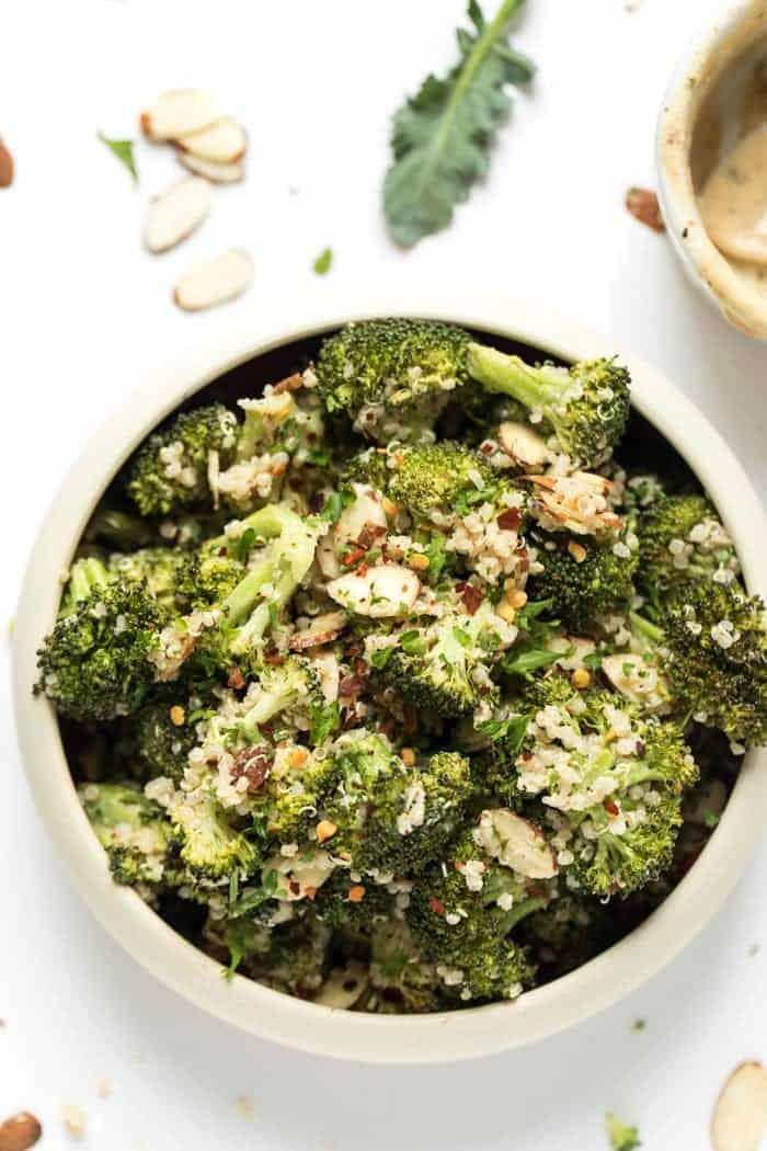 healthy broccoli quinoa salad with a vegan cashew dressing