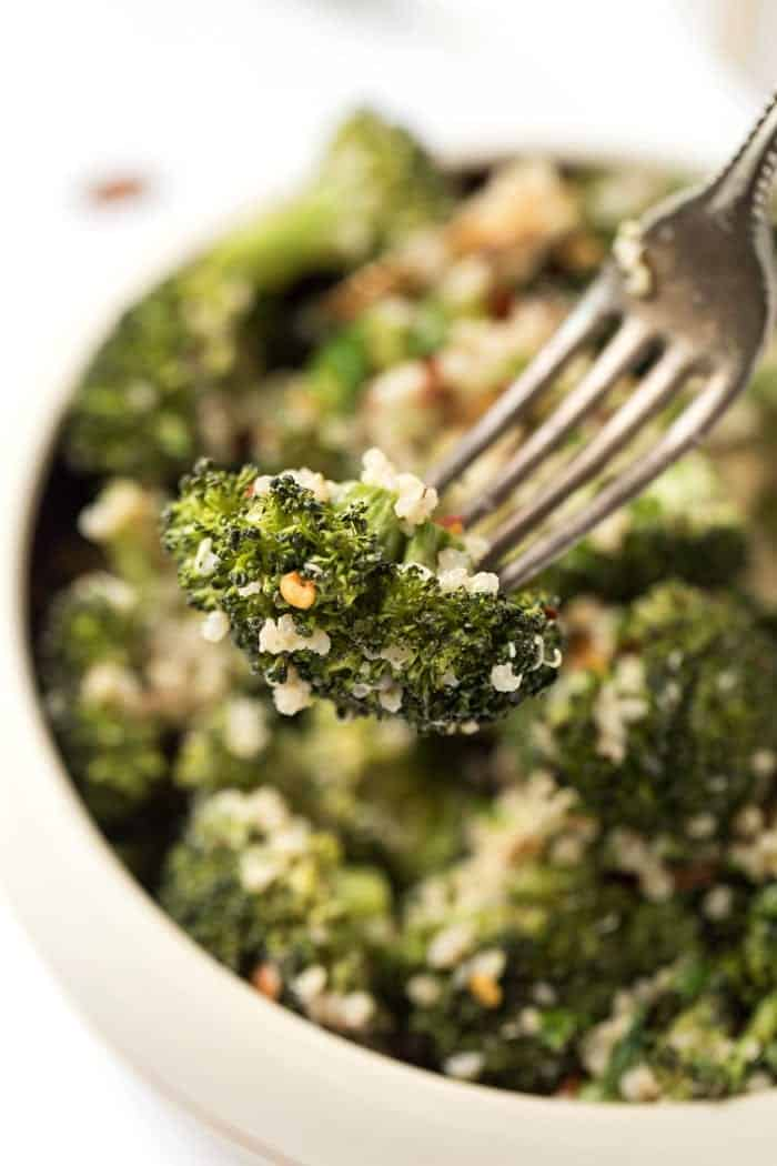 creamy broccoli quinoa salad recipe with a vegan cashew dressing