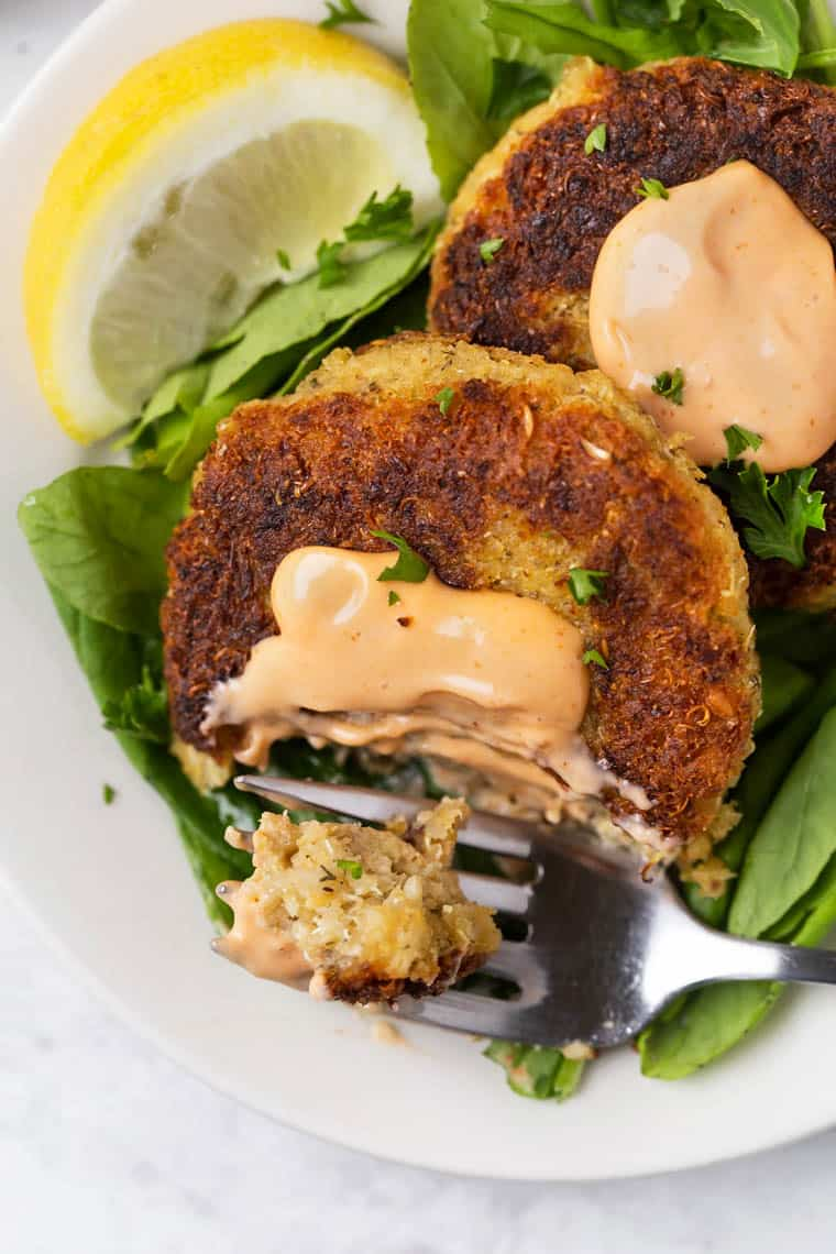 Vegan Crab Cakes with Hearts of Palm