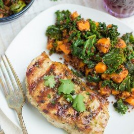 Grilled Pork Chops with Sweet Potato, Kale & Red Quinoa Salad