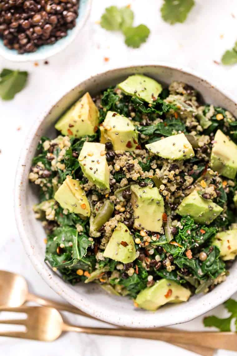 High Protein Quinoa Salad with Lentils
