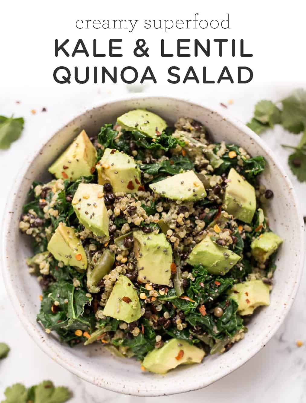 Creamy Superfood Kale & Lentil Quinoa Salad - Simply Quinoa
