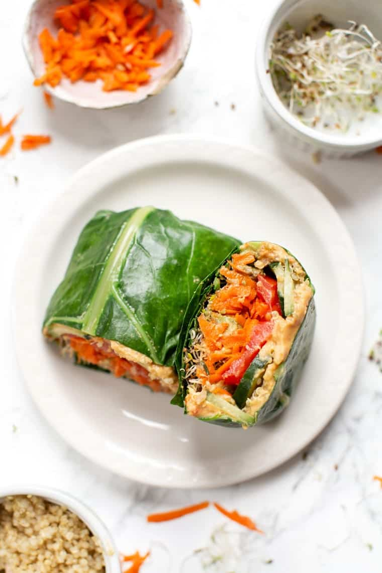 Healthy Veggie Collard Wrap