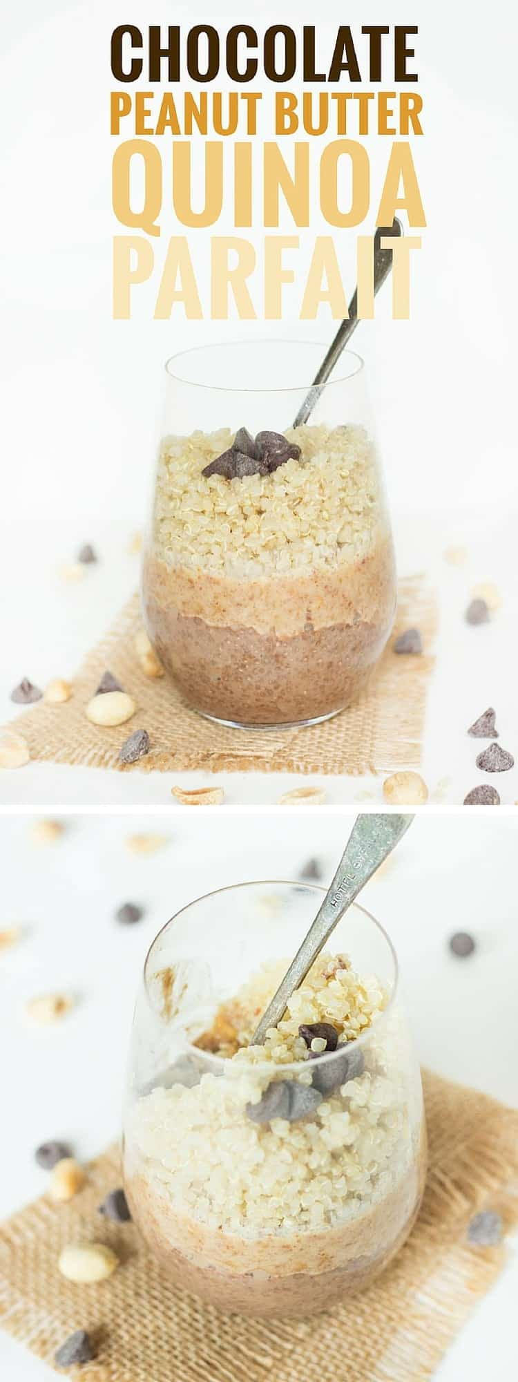 Breakfast that tastes like a Reese's Peanut Butter Cup! I can't wait to make this Chocolate + Peanut Butter Quinoa Parfait. The first layer is a simple Chocolate Chia Pudding, then there's a layer of sweet Peanut Butter Sauce and finally it's topped with cooked QUINOA. Seriously most decadent (and healthy) breakfast EVER!