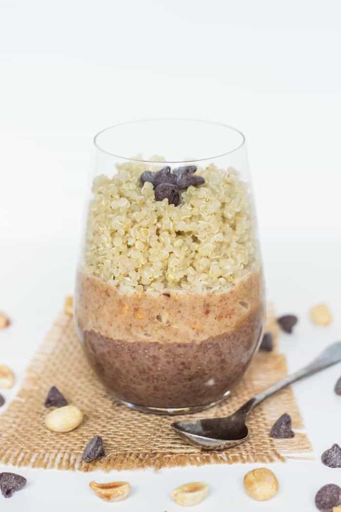 Chocolate & Peanut Butter Quinoa Breakfast Parfait