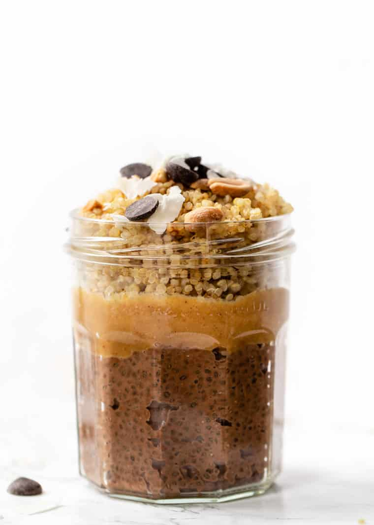 Chocolate Peanut Butter Quinoa Breakfast Parfait