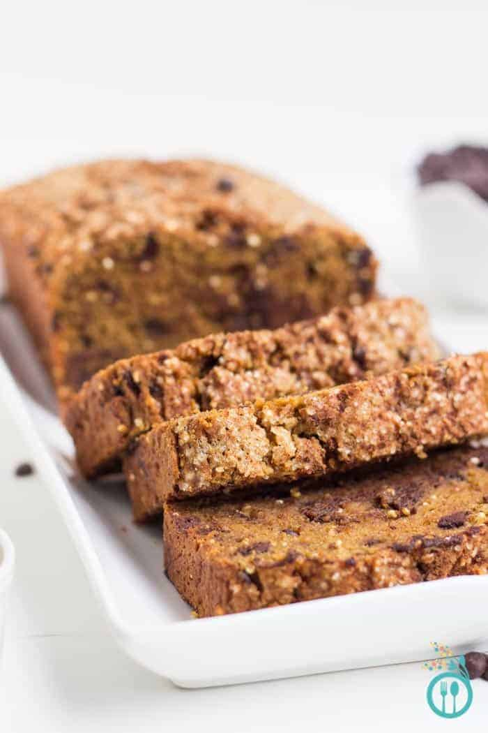 Gluten-Free Pumpkin Bread with Chocolate Chips via simplyquinoa.com